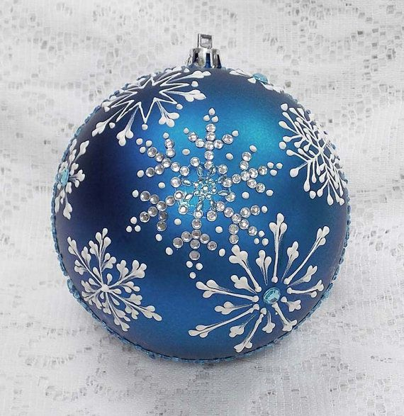 Rich Blue 3d White Snowflakes Mud Ornament L By Margotthemudlady Painted Christmas Ornaments Christmas Ornaments Handmade Christmas Ornaments