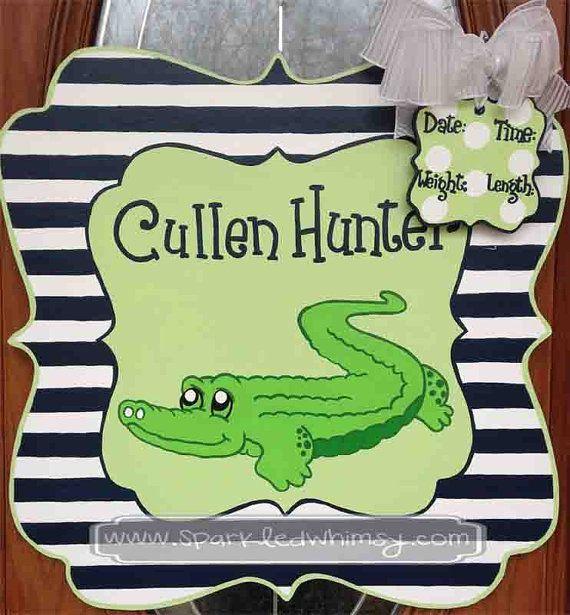 Personalized Alligator Baby Announcement Sign By Sparkledwhimsy Baby Door Hangers Art Wall Kids Baby Door
