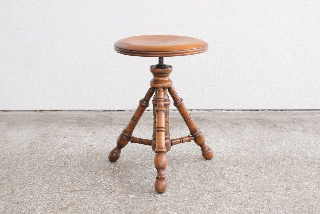 Carved Tripod Piano Stool