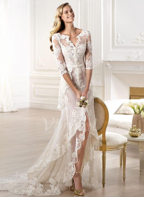 Sheath/Column V-neck Asymmetrical Tulle Lace Wedding Dress ...
