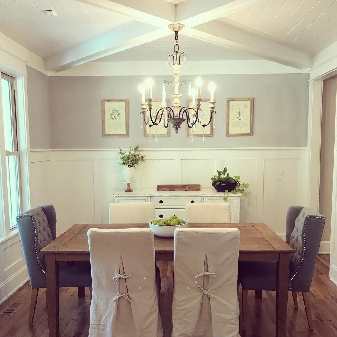 Farmhouse Dining! I just love how the ceiling in our dining room turned out!  Beautiful X pattern coffered ceiling with shiplap, and… #farmhousediningroom