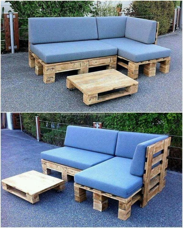 sof de pallet azul patio pinterest balkon palletten und anleitungen. Black Bedroom Furniture Sets. Home Design Ideas