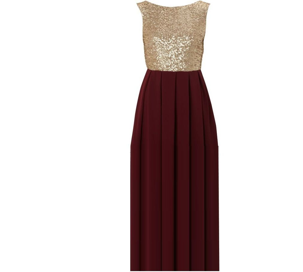 Love this dress for bridesmaid dress so cute cranberry for Burgundy and gold wedding dress