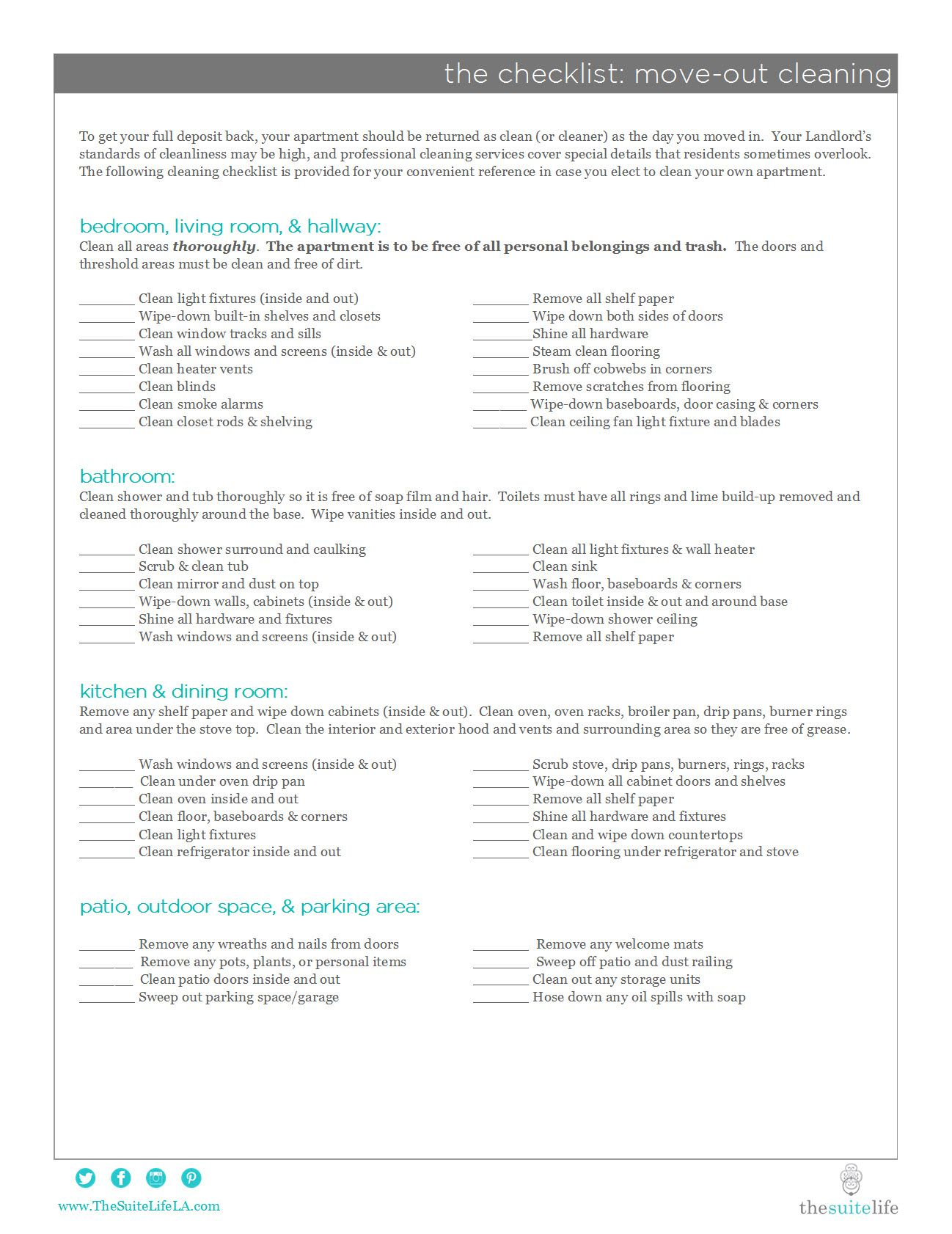 The Suite Life - Move Out Cleaning Checklist | <3 | Pinterest ...