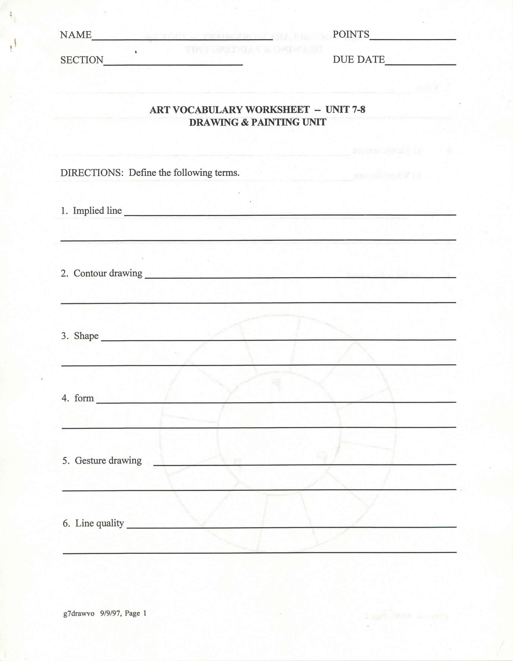 Worksheet Elements And Principles Of Art Worksheet