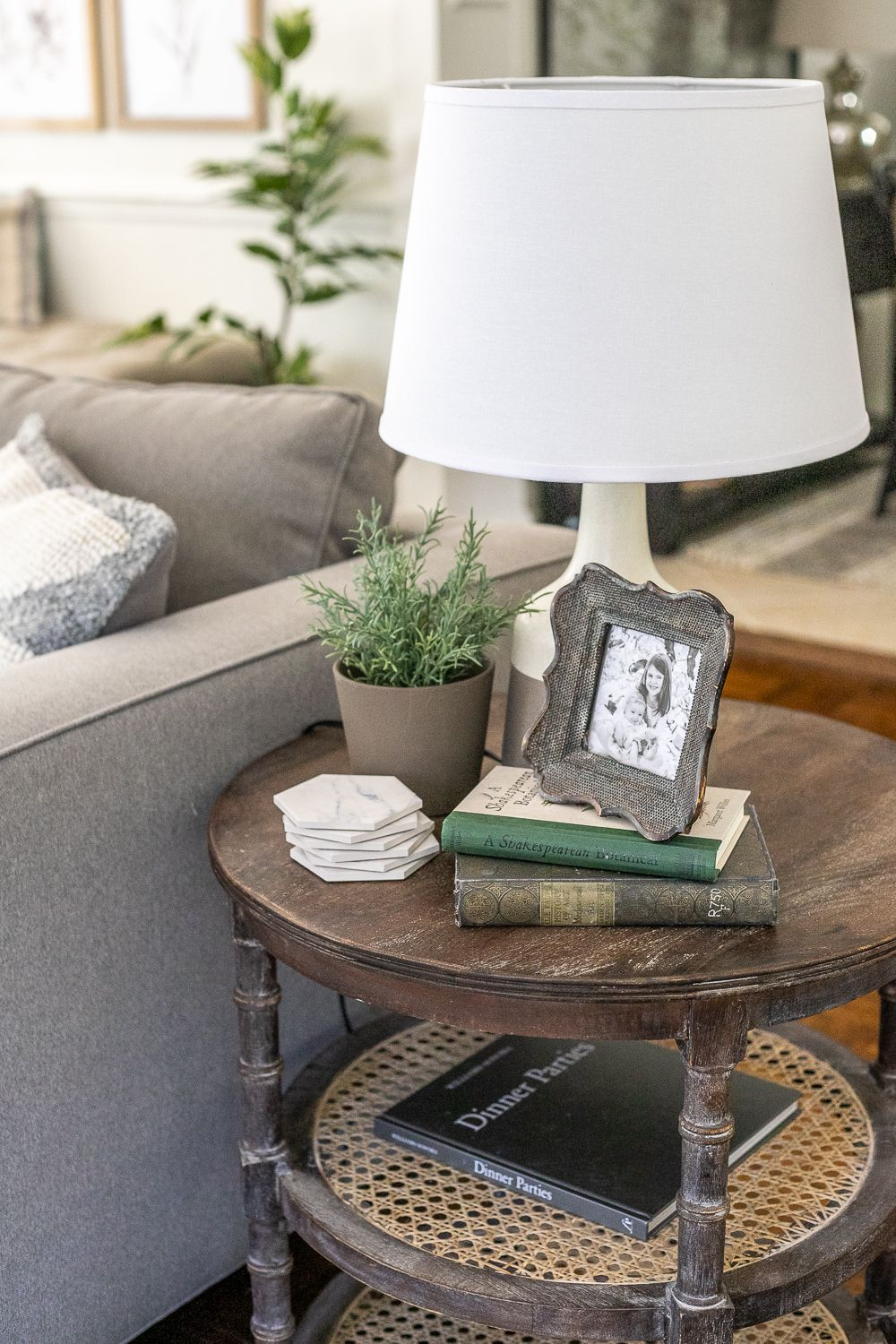 Simplified Decorating How To Style End Tables Bless Er House In 2020 Side Table Decor Table Decor Living Room Side Table Decor Living Room