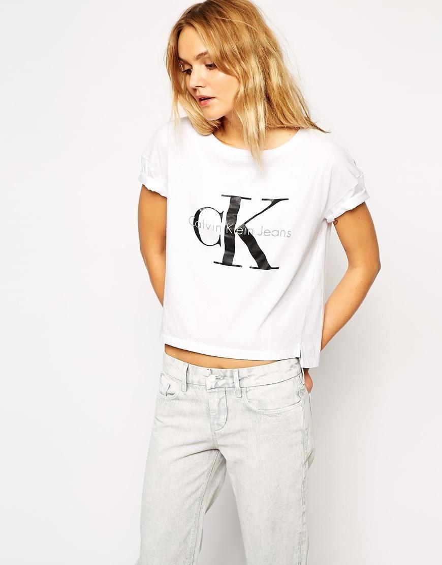 White t shirt calvin klein - Calvin Klein Calvin Klein Jeans Cropped T Shirt At Asos