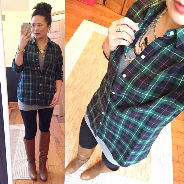 @carylee07- plaid shirt + gray tunic tank + leggings + cognac boots