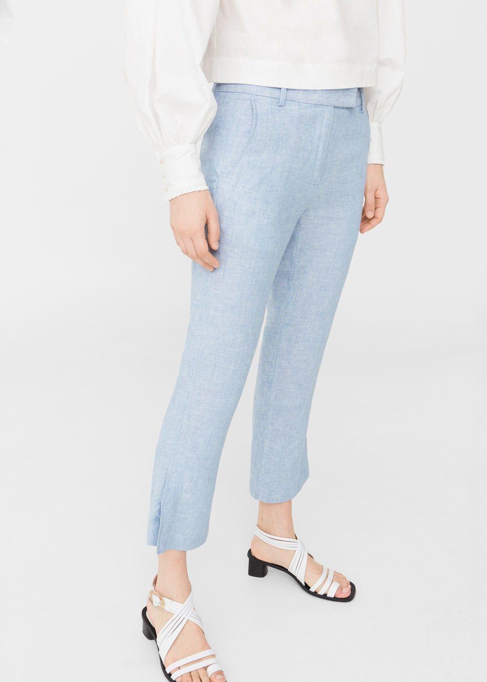 1e3d231263 Pantalón recto lino - Pantalones de Mujer