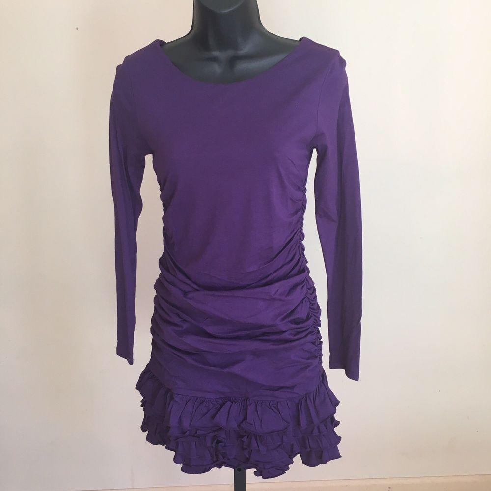 Girls Ralph Lauren Polo Long Sleeve Ruffled Purple Dress Size 12