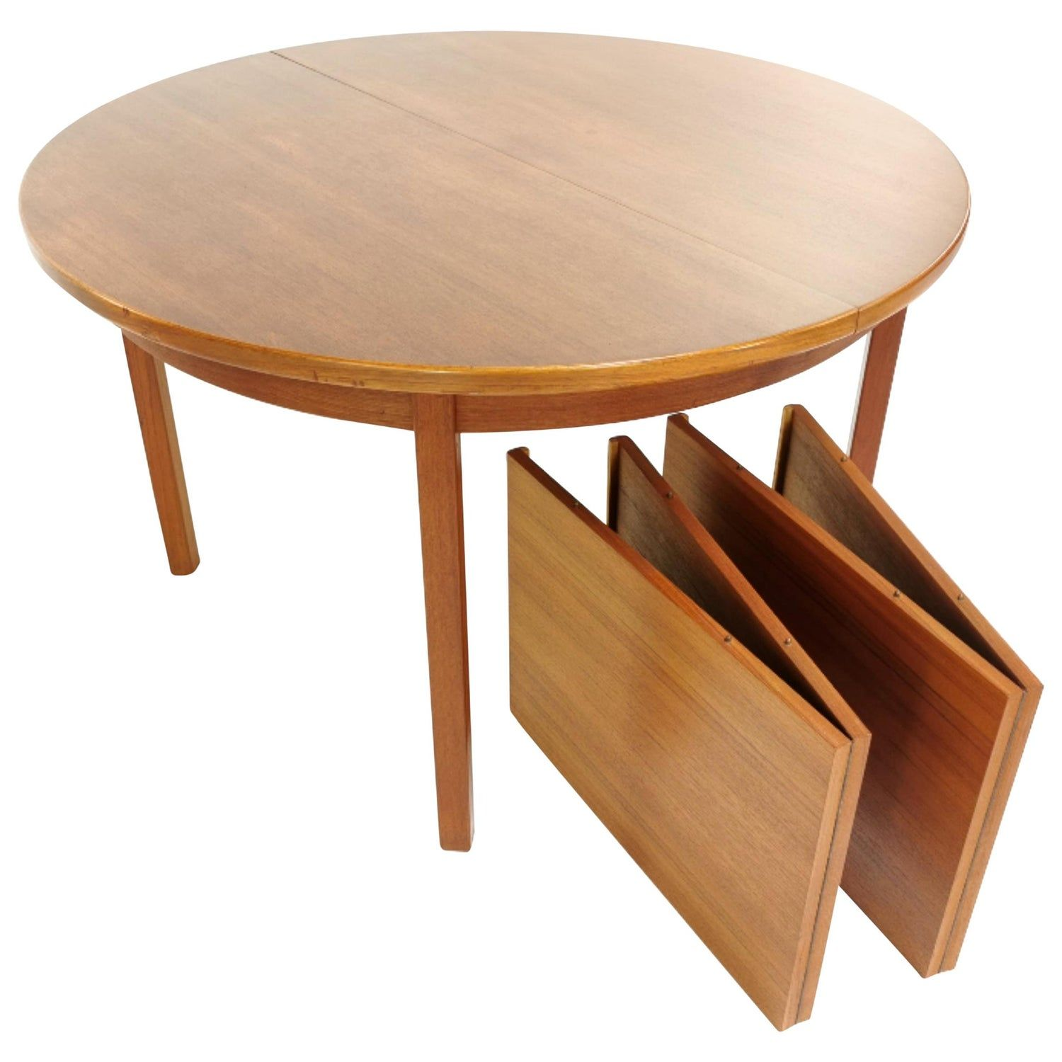 Danish Round Extendable Teak Dining Table 1960s Midcentury Vintage