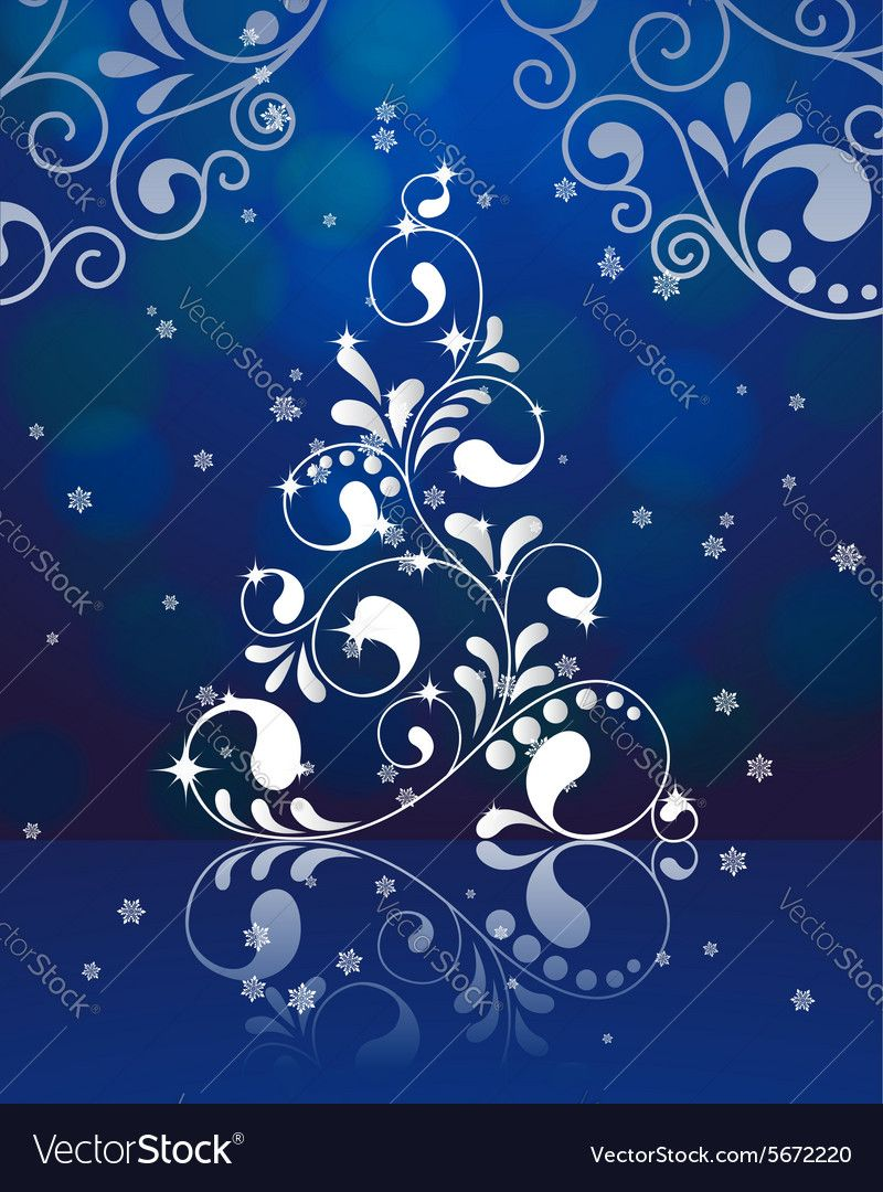 christmas tree with reflection on the blue background. vector