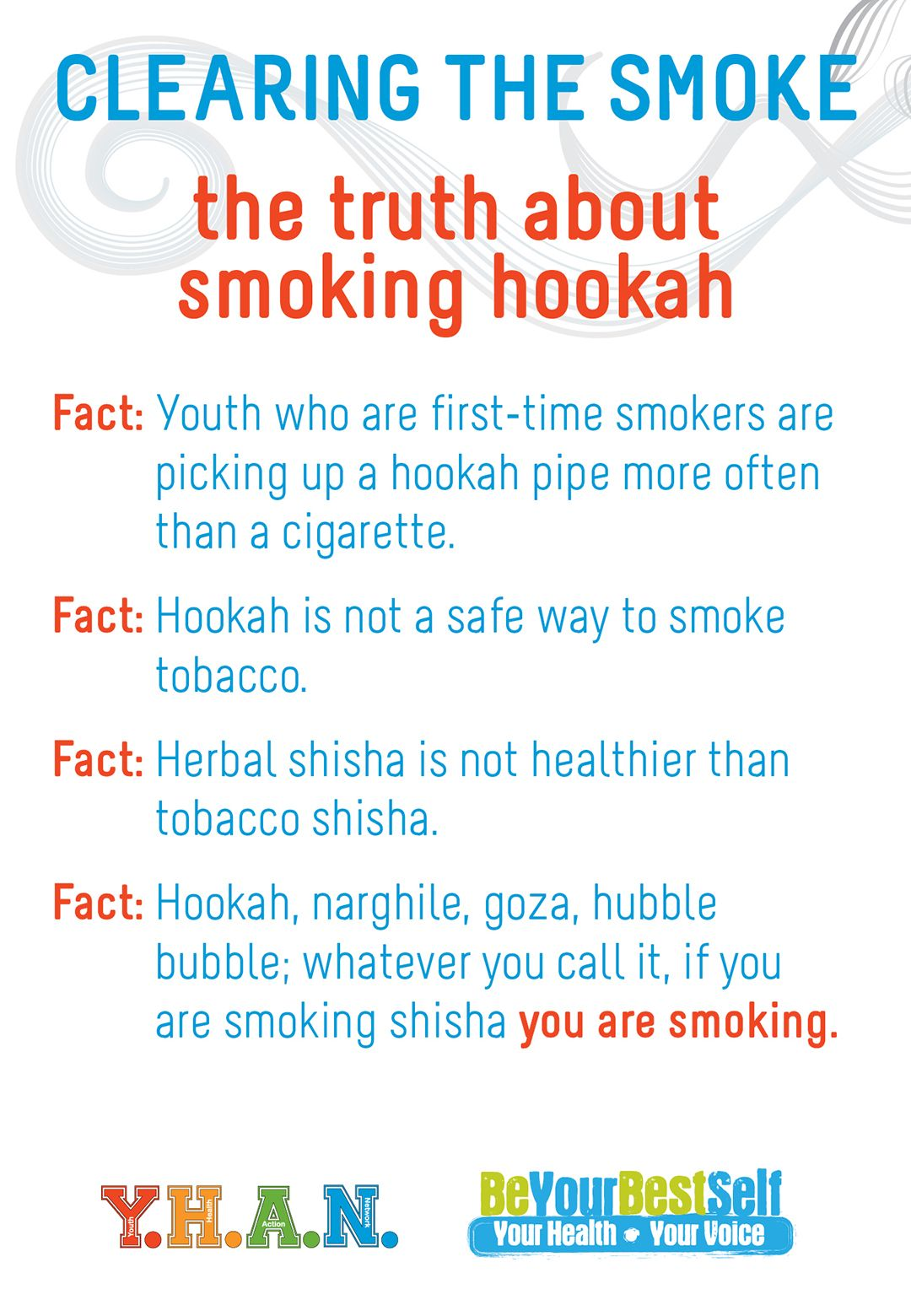 The truth about smoking hookah. Fact: Youth who are first ...