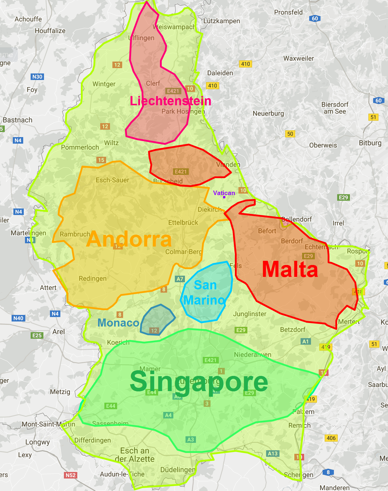 Luxembourg Compared To Liechtenstein, Andorra, Malta, San
