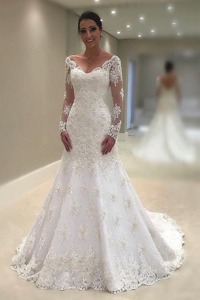 2019 Mermaid Trumpet Wedding Dresses V Neck Long Sleeves Tulle With Applique And Mermaid Trumpet Wedding Dresses Trumpet Wedding Dress Mermaid Dresses [ 1140 x 760 Pixel ]