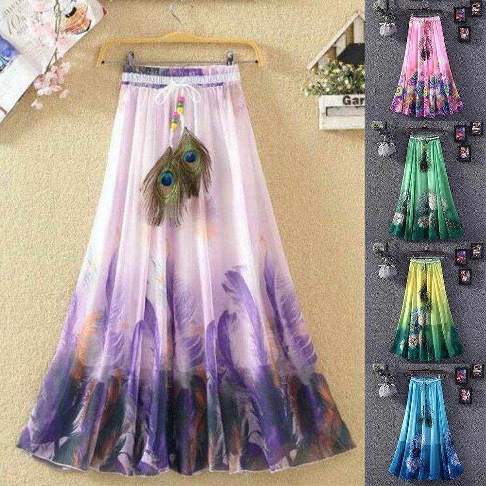 8f491b68e2 Women Lady Summer Boho Flare Pleated Casual Party Maxi Long Beach Skirt  Dress   eBay