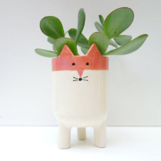 Beautiful Face Plant Pot Part - 8: Little Tripod Fox Planter Fox Face Plant Pot By MinkyMooCeramics: