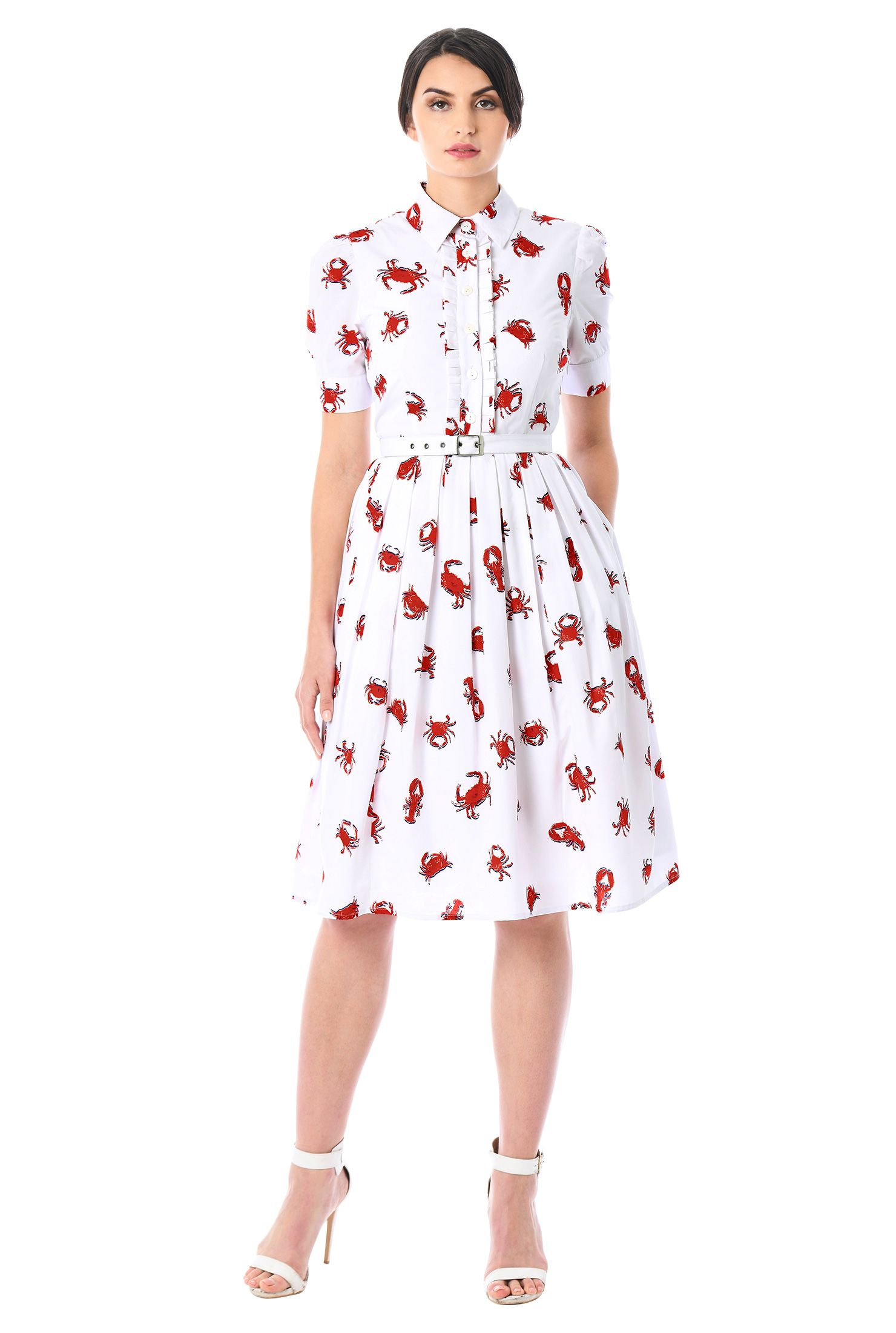 Lobster And Crab Print Crepe Belted Shirtdress Fashion Clothes Women Women Dress Online Knit Sheath Dress