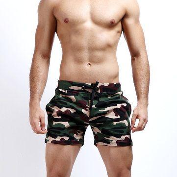 Mens Camo Home Shorts Breathable Elastic Waist Drawstring Casual ...
