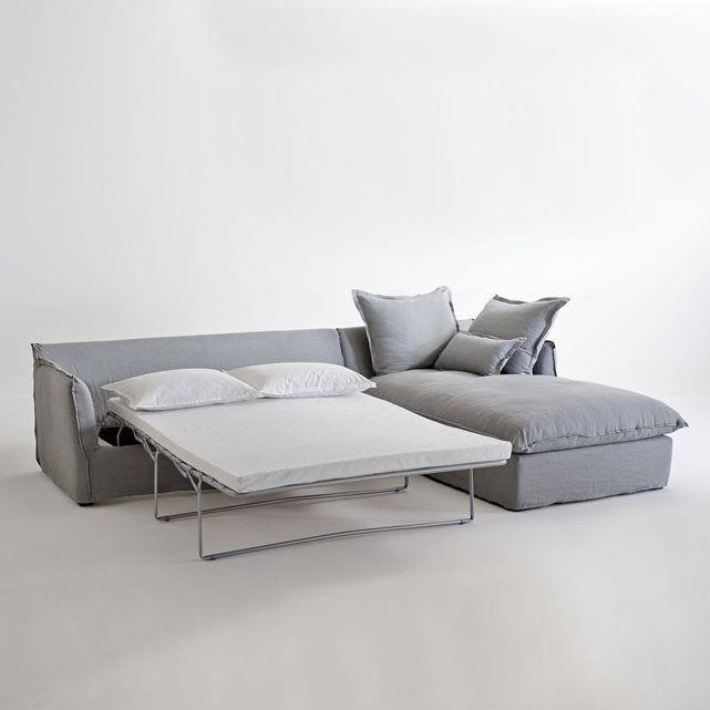 canap d 39 angle convertible en lin froiss odna bultex. Black Bedroom Furniture Sets. Home Design Ideas