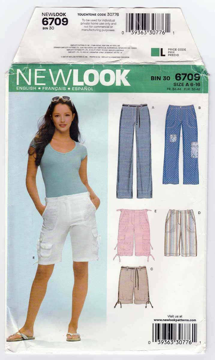 f8af53da4e New Look 6709 Women's Pants, Shorts, Cargo Shorts, Capris, Cropped Pants  Sewing Pattern; Designed to be worn 1
