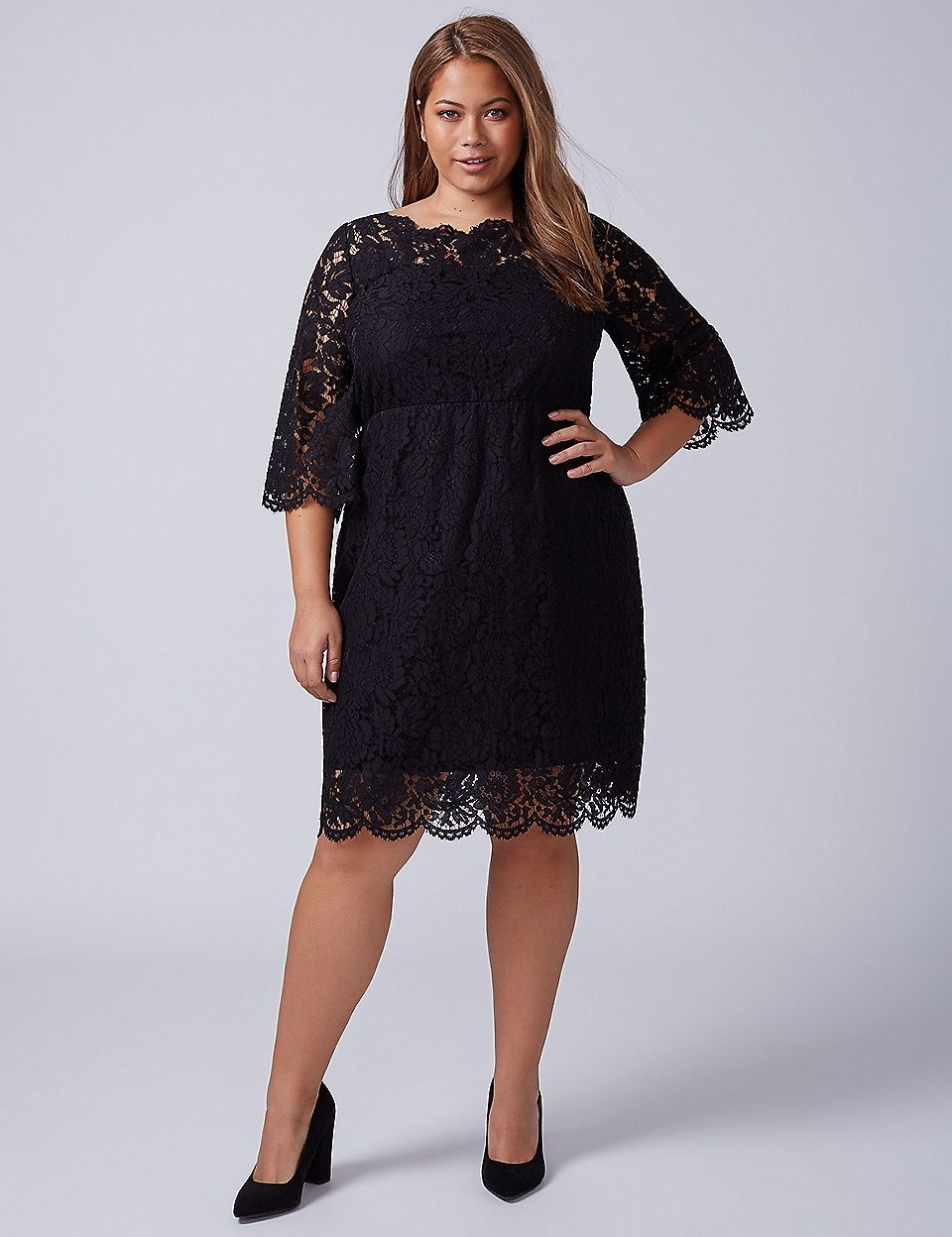 Scallop-Edge Lace Fit & Flare Dress | Lane Bryant | Dresses ...