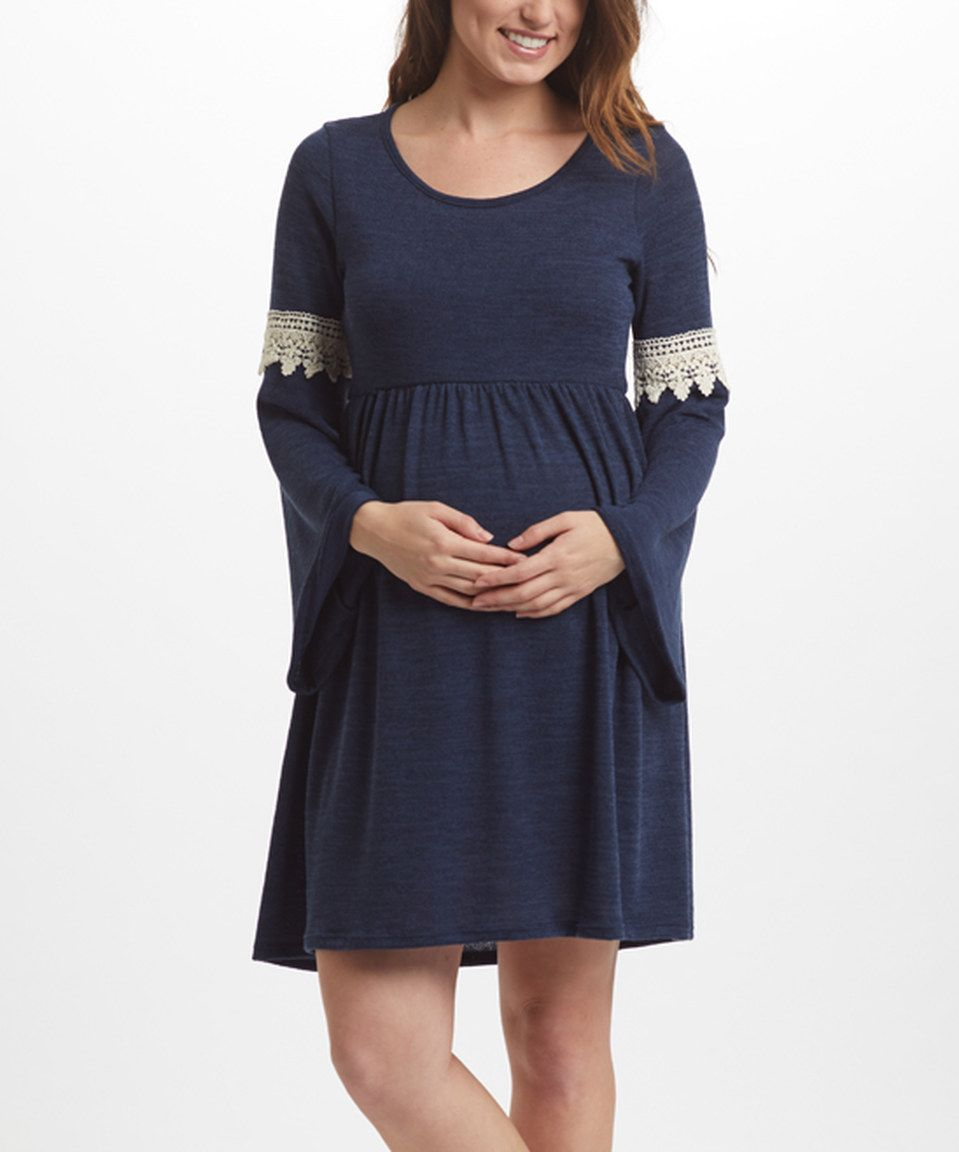 Pinkblush maternity pinkblush navy ivory crochet accent pinkblush navy ivory crochet accent maternity bell sleeve dress by pinkblush maternity ombrellifo Image collections