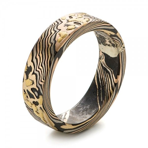 Custom Mokume Wedding Band White gold Ring and Rose