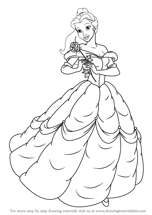 Learn How To Draw Belle From Beauty And The Beast Beauty And The Beast Step By Step D Beauty And The Beast Drawing Beauty And The Beast Rose Coloring Pages