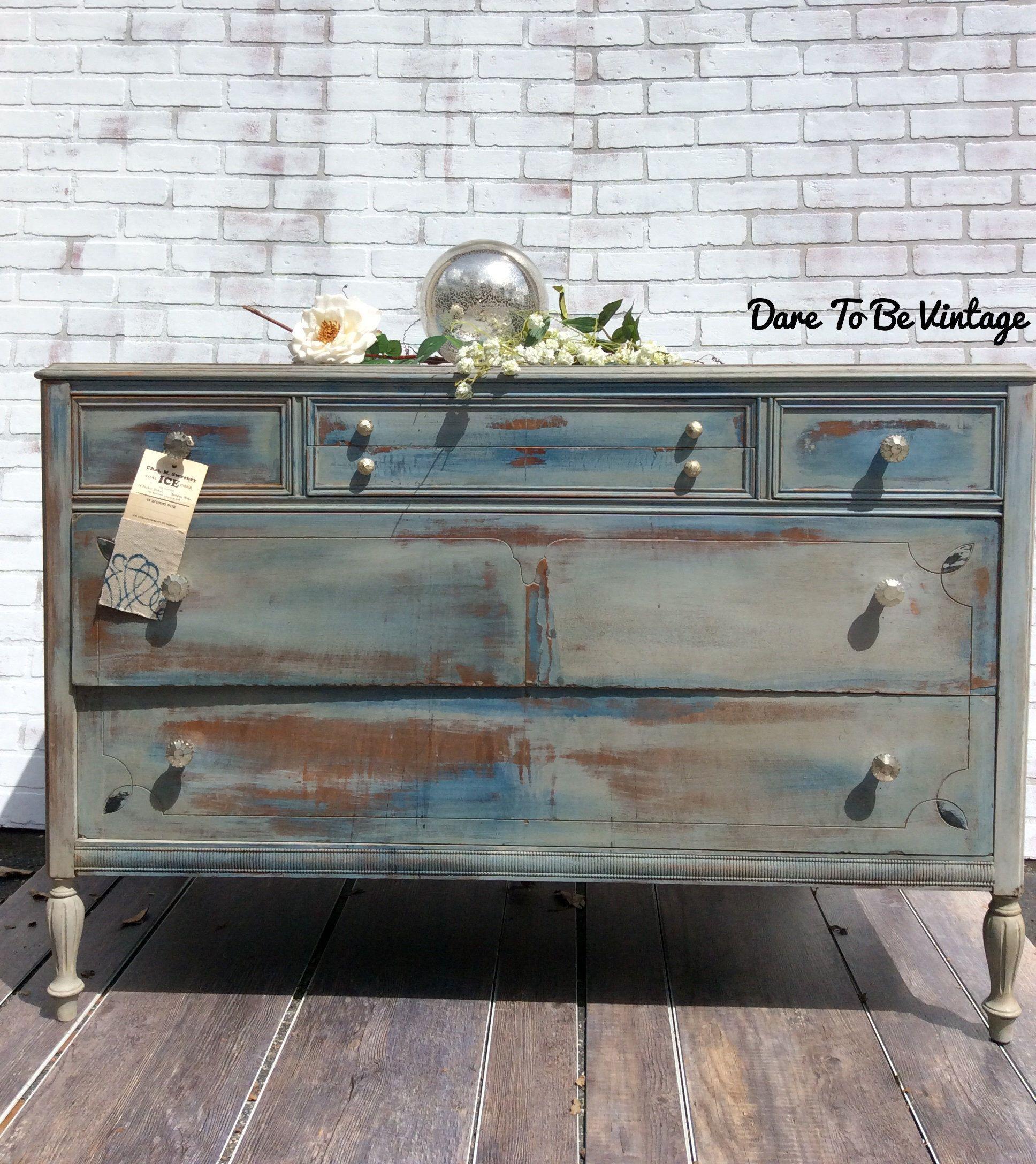 Sold Vintage Dresser  Bohemian Painted Dresser  Painted Dresser