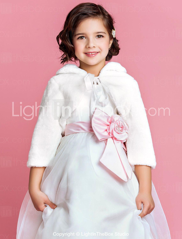 Fur wedding dress  Long Sleeves Faux Fur Wedding Party Evening Kidsu Wraps Fur Wraps