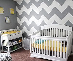 Slide 1 Grey Chevron Wallpaper And Subtle Yellow Accents Looks Chic Trendy