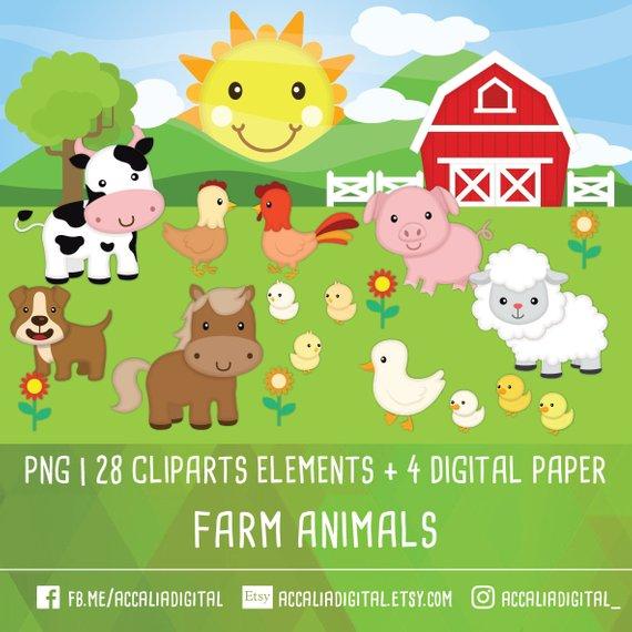 Farm Animal Clip Art Animal Friends Sticker Animal Buddy Etsy In 2021 Animal Clipart Animals Friends Farm Animals
