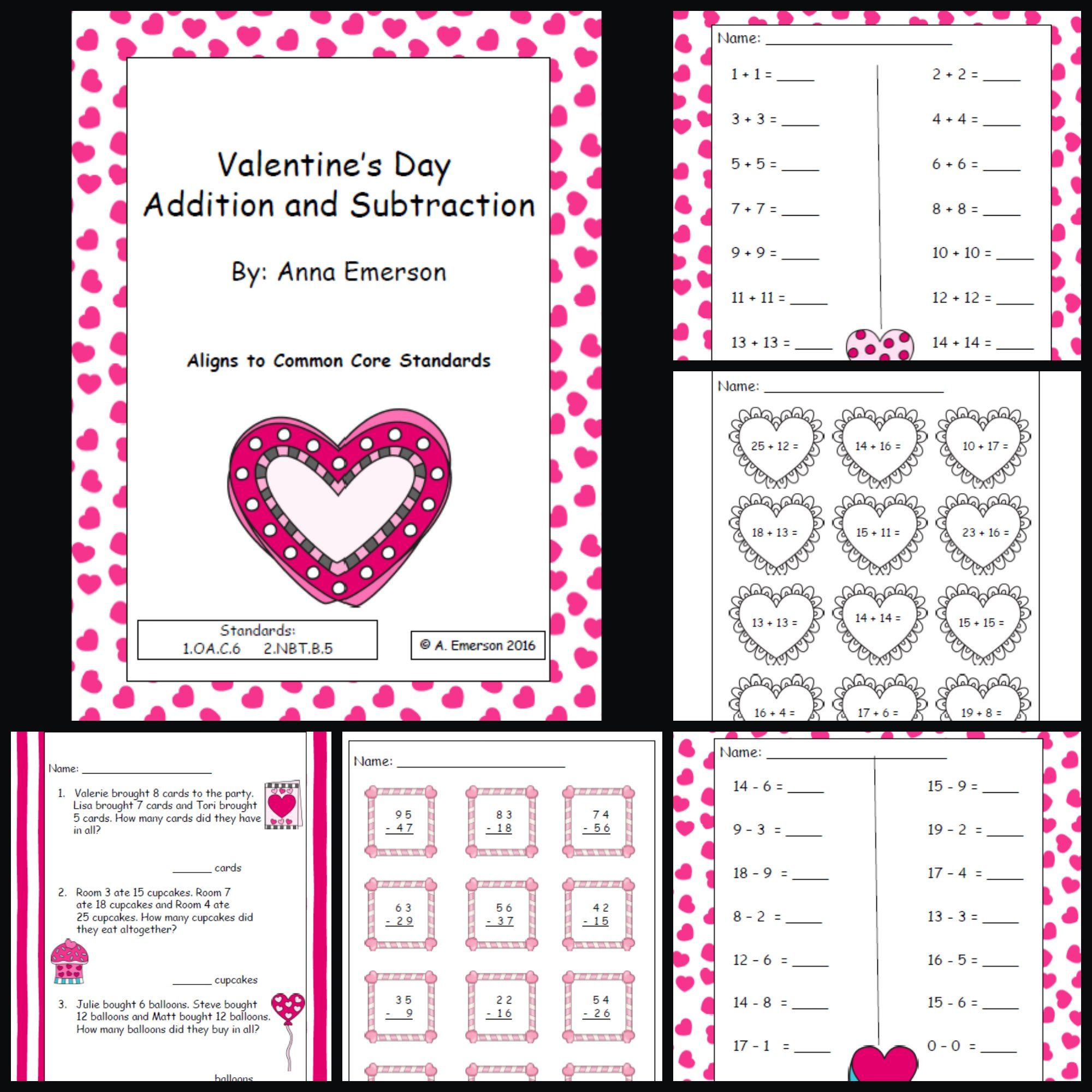 Valentine S Day Addition And Subtraction Practice