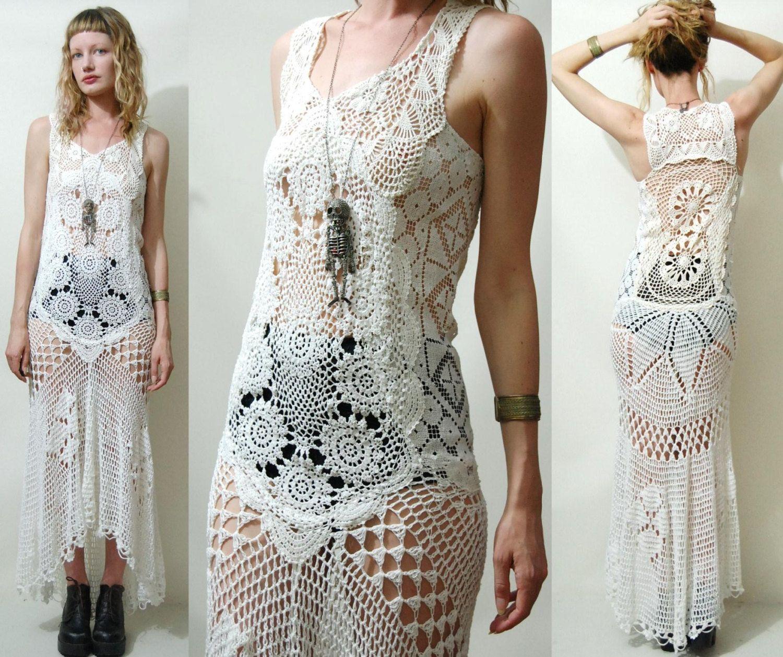 Crochet dress vintage full lace white fishtailtrain bohemian hippie