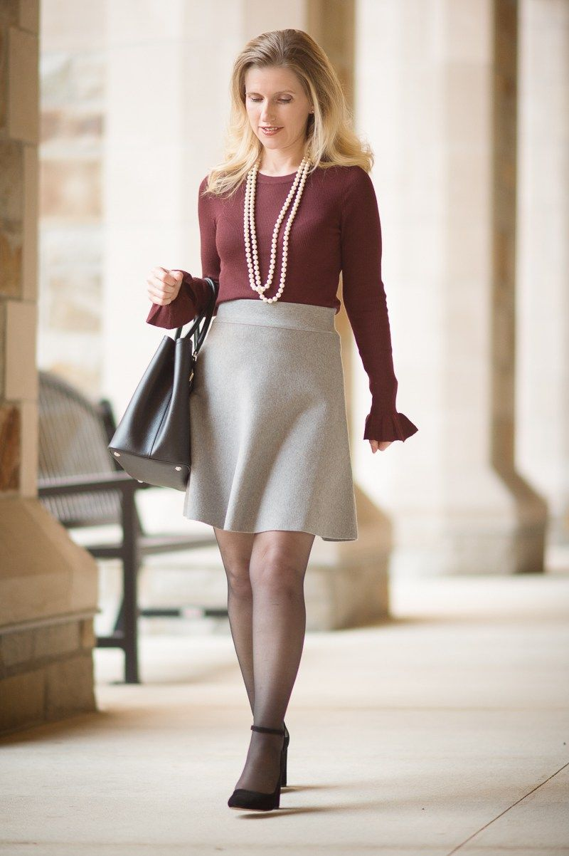 Petite Fashion and Style   Ann Taylor Extra Fine Merino Wool Ruffle Cuff Sweater   Ann Taylor Solid Sweater Skirt   Click to Read More
