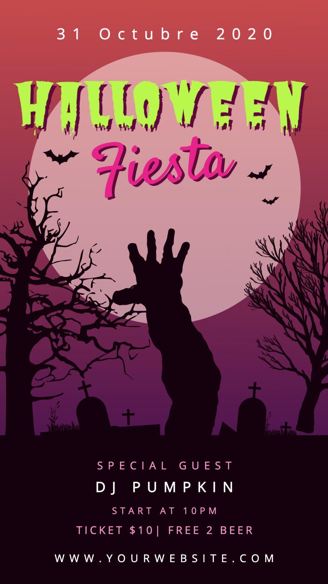 Fiesta De Halloween Poster Personalizable Plantillas De Halloween Halloween Invitaciones Cartel De Halloween