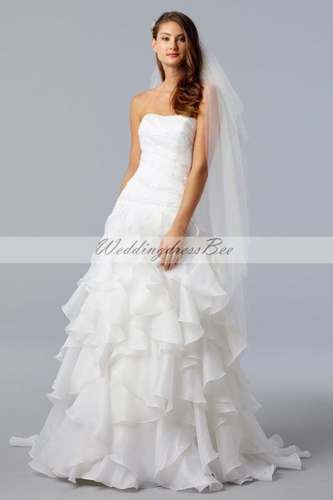 strapless a-line chapel train bridal gowns