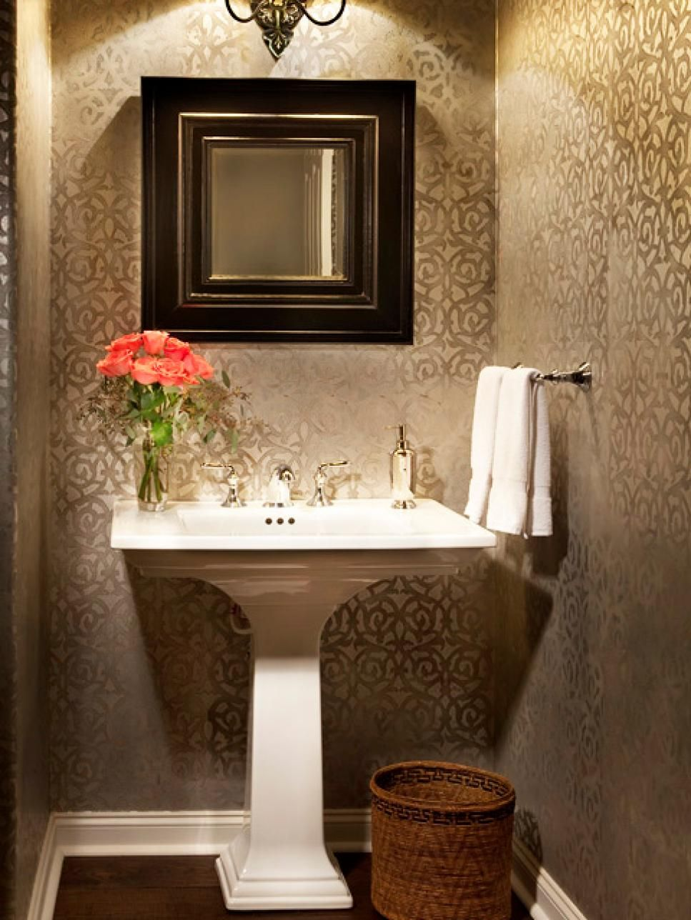 think you cant do graphic wallpaper in a small space think again a small bathroom is the perfect place to try out a daring wall treatment - Wallpaper For Bathroom