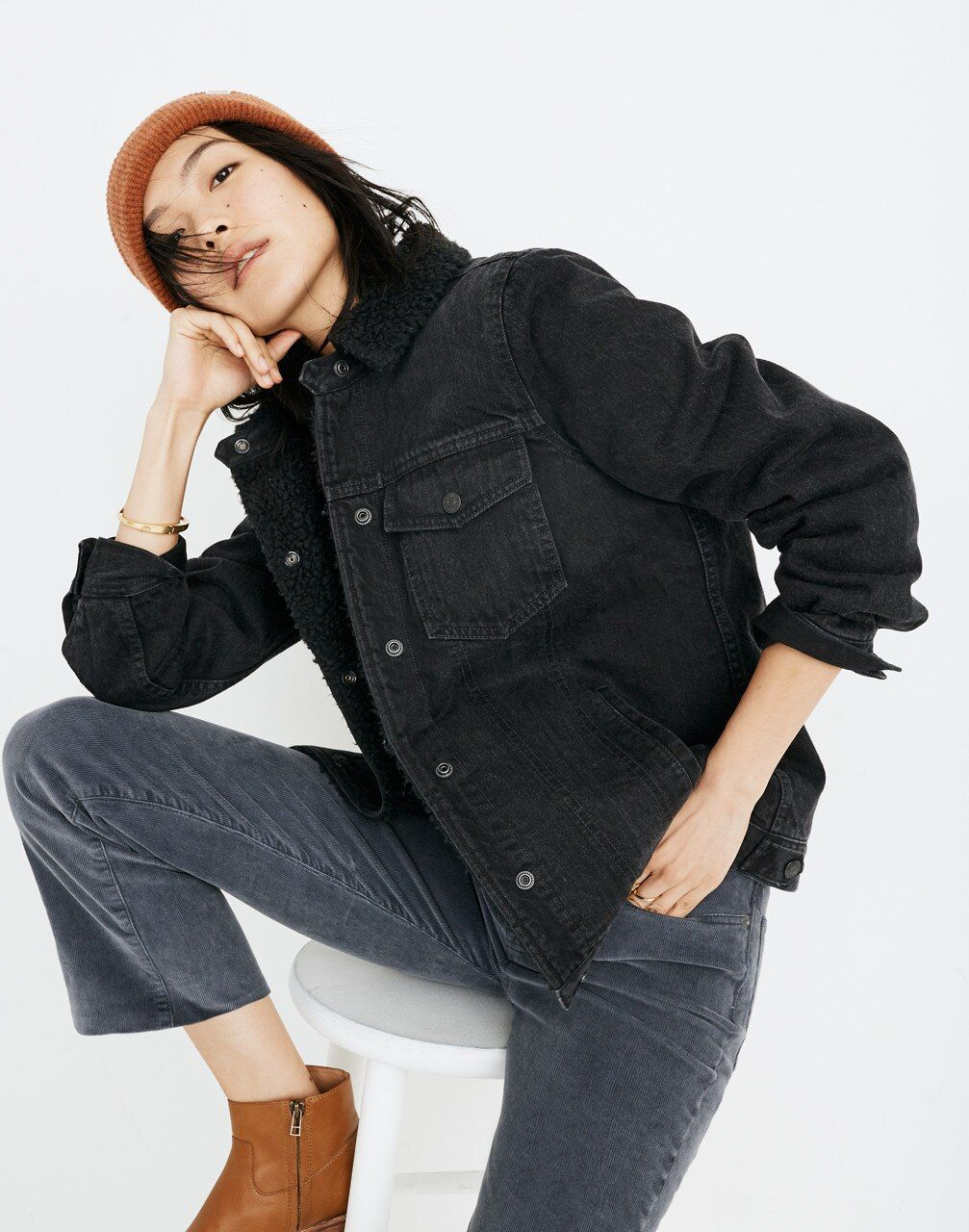 The Oversized Jean Jacket in Gallagher Black: Sherpa ...