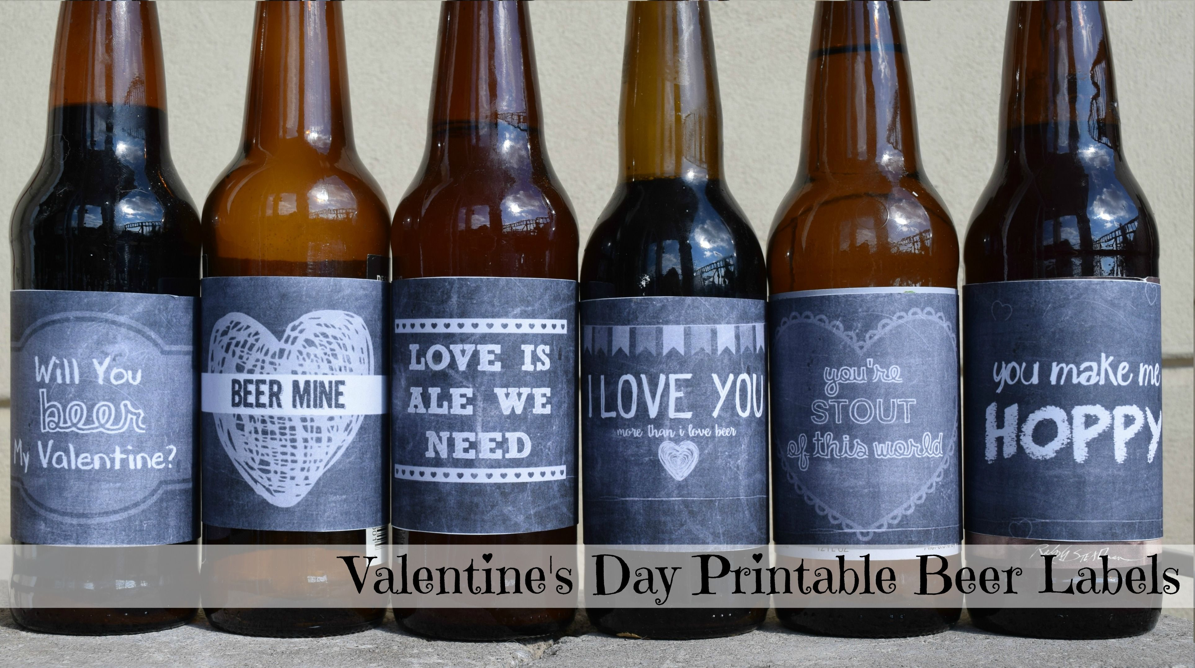 This is a photo of Simplicity Free Printable Valentine Beer Labels