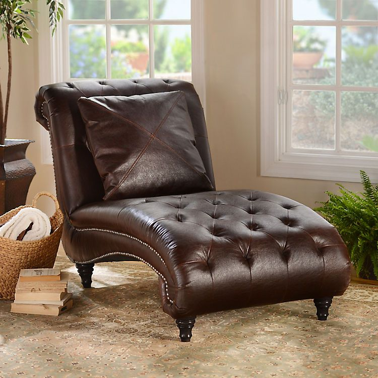 Brown leather chaise lounge furniture living room