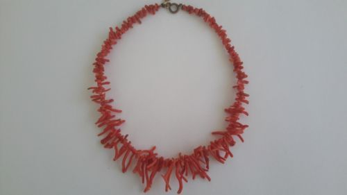 Vintage-Natural-Coral-Necklace-Choker-Undyed-Mediterranean-15-034-w-6-034-Extender