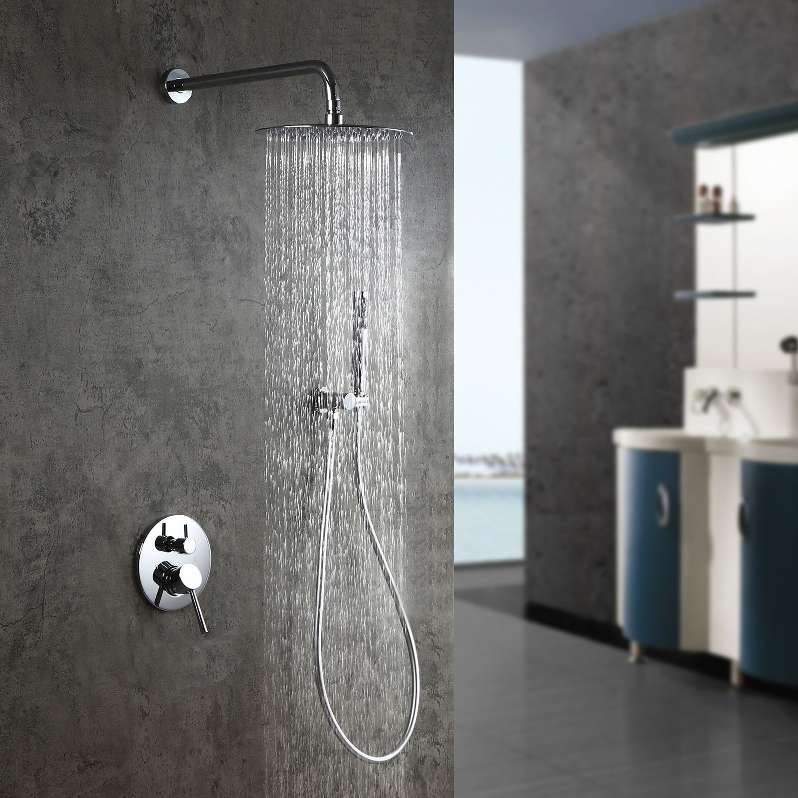 Modern Polished Chrome Wall Mounted Rain Shower System With Round