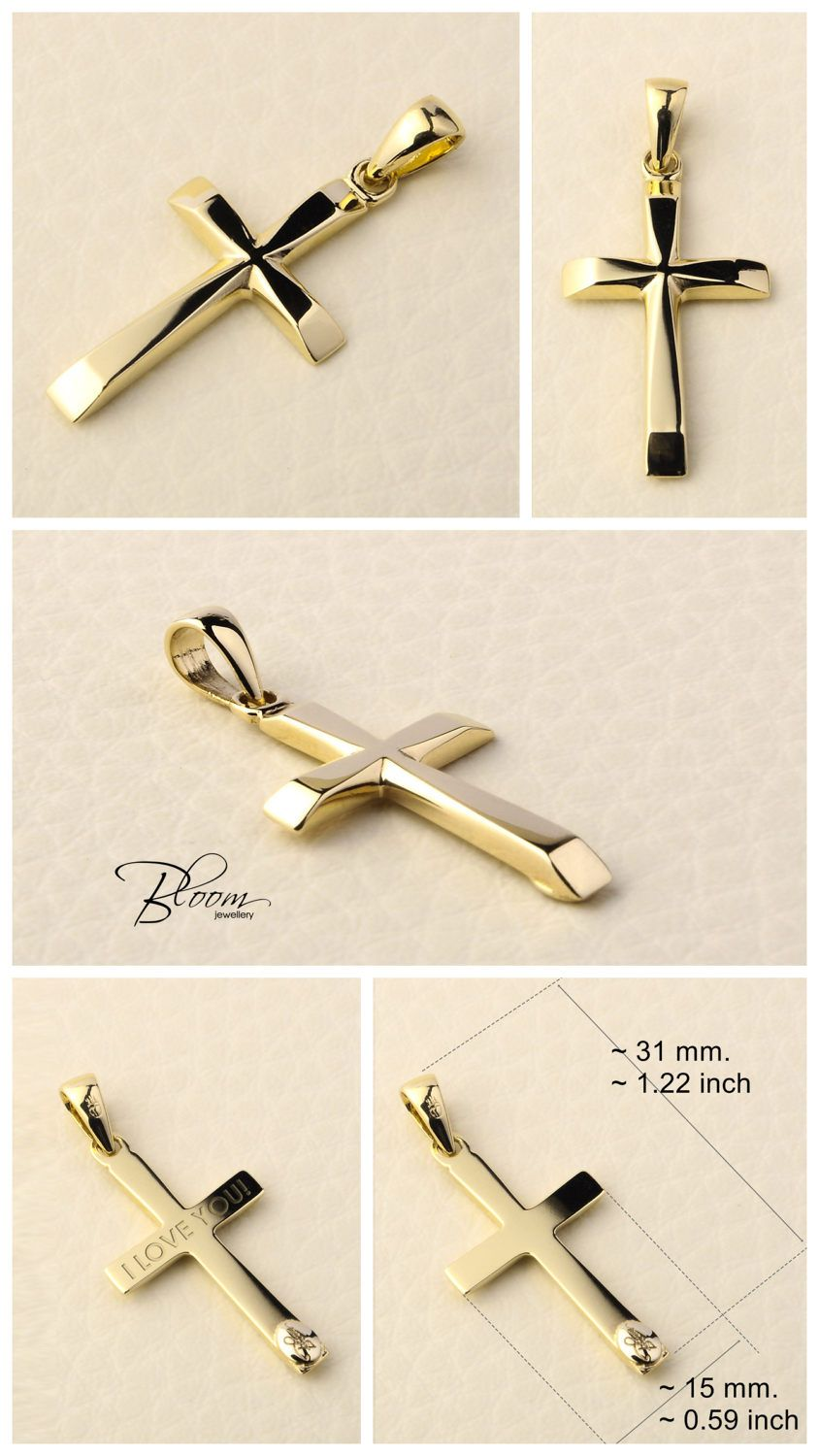 Silver Yellow Plated Cross Charm 28mm