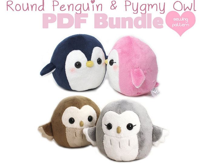 Pdf Sewing Pattern Bundle Owl And Penguin Plush Cute Easy Kawaii Stuffed Animal Diy Plushie Round Handheld Size