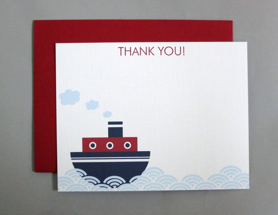 Steamboat Baby Shower Thank You A2 Flat Note Cards by RatDogInk, $17.00