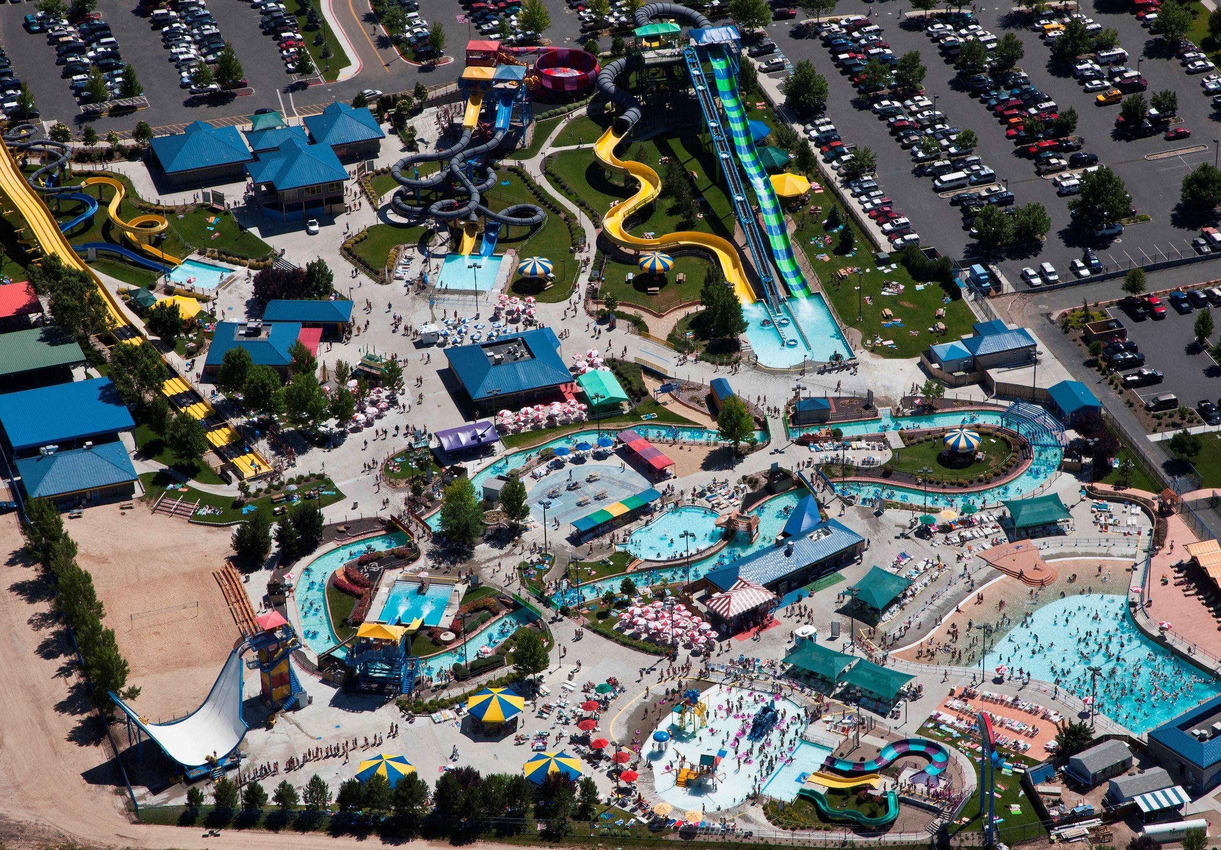 Aerial shot of Roaring Springs Water Park in Meridian, ID
