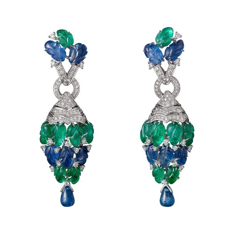 Cartier Étourdissant emerald, sapphire and diamond earrings