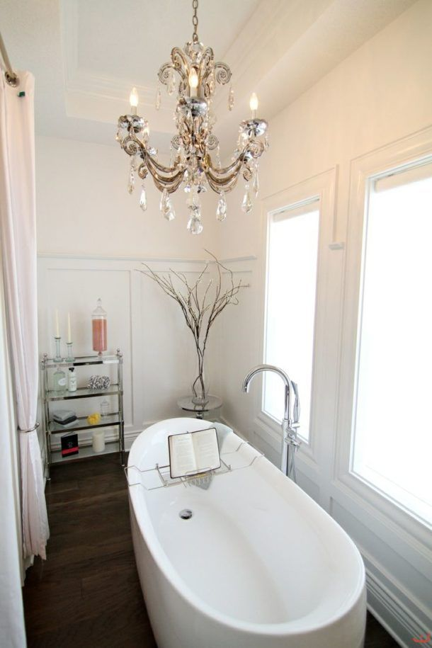 Bathroom Artistic Small Bathroom Chandeliers Over Tub With